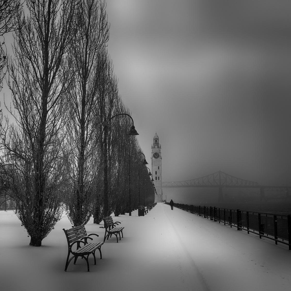 Tour de l'horloge Montréa, pont Jacques-Cartier, hiver